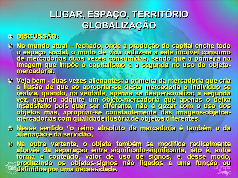 LUGAR, ESPAÇO, TERRITÓRIO GLOBALIZAÇÃO DISCUSSÃO: No mundo atual – fechado, onde a produção do capital enche todo o espaço social, o modo de vida redu
