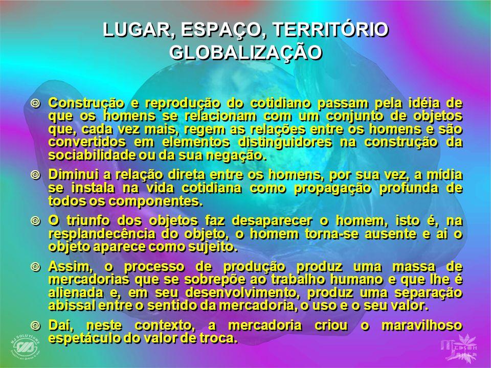 LUGAR, ESPAÇO, TERRITÓRIO GLOBALIZAÇÃO Construção e reprodução do cotidiano passam pela idéia de que os homens se relacionam com um conjunto de objeto