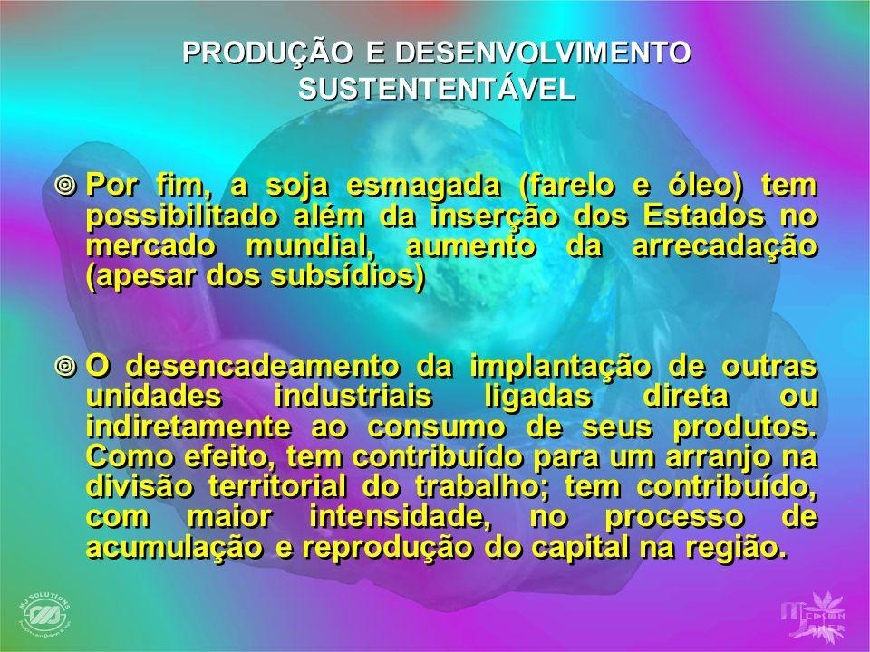 No Estado de Mato Grosso do Sul, a instalação da agricultura empresarial na região sul, nas regiões MRG-10 e11, tendo como pólo o município de Dourados, que iria expandir-se para outras regiões, ocupando todo território sul-mato-grossense na década de 90, Assim como no Estado de Mato Grosso a soja e o agronegócio empresarial iria ocupar no final do século passado as regiões norte do estado, destacando municípios como: No Estado de Mato Grosso do Sul, a instalação da agricultura empresarial na região sul, nas regiões MRG-10 e11, tendo como pólo o município de Dourados, que iria expandir-se para outras regiões, ocupando todo território sul-mato-grossense na década de 90, Assim como no Estado de Mato Grosso a soja e o agronegócio empresarial iria ocupar no final do século passado as regiões norte do estado, destacando municípios como: PRODUÇÃO E DESENVOLVIMENTO SUSTENTENTÁVEL