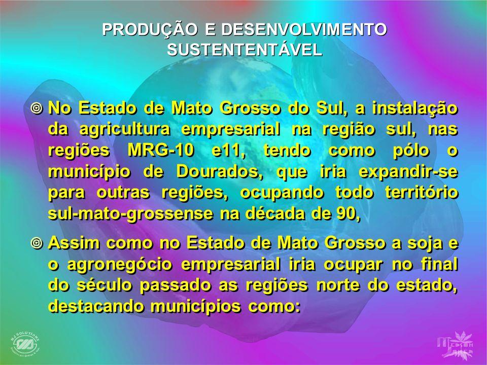 No Estado de Mato Grosso do Sul, a instalação da agricultura empresarial na região sul, nas regiões MRG-10 e11, tendo como pólo o município de Dourado