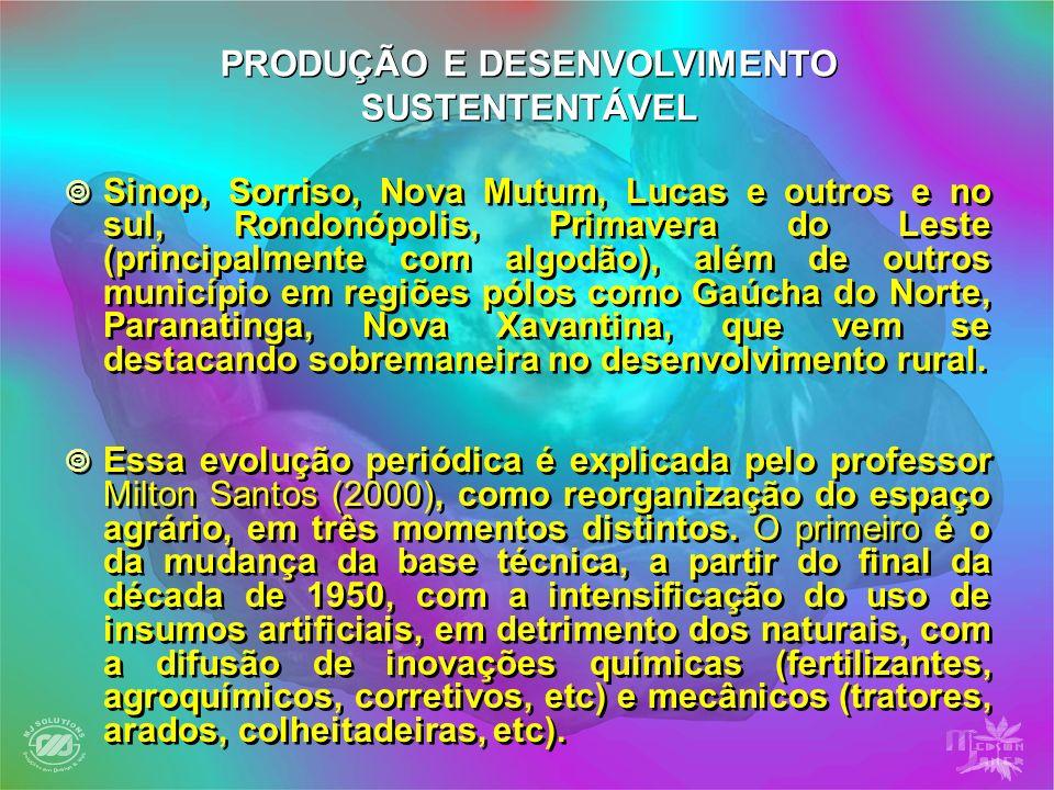 Sinop, Sorriso, Nova Mutum, Lucas e outros e no sul, Rondonópolis, Primavera do Leste (principalmente com algodão), além de outros município em regiõe