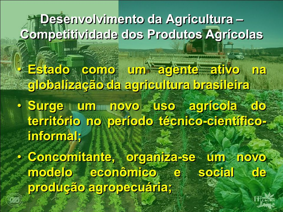 Desenvolvimento da Agricultura – Competitividade dos Produtos Agrícolas Estado como um agente ativo na globalização da agricultura brasileira Surge um