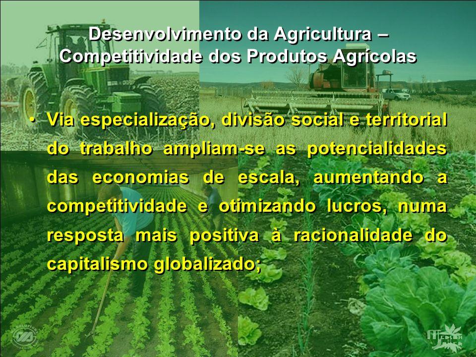 Desenvolvimento da Agricultura – Competitividade dos Produtos Agrícolas Via especialização, divisão social e territorial do trabalho ampliam-se as pot