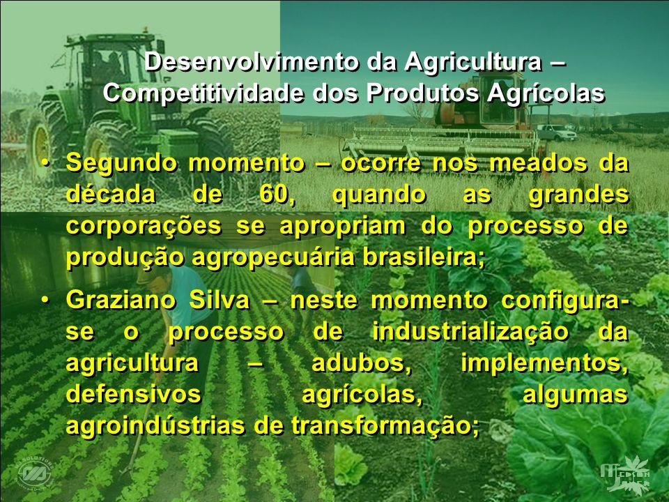 Desenvolvimento da Agricultura – Competitividade dos Produtos Agrícolas Segundo momento – ocorre nos meados da década de 60, quando as grandes corpora