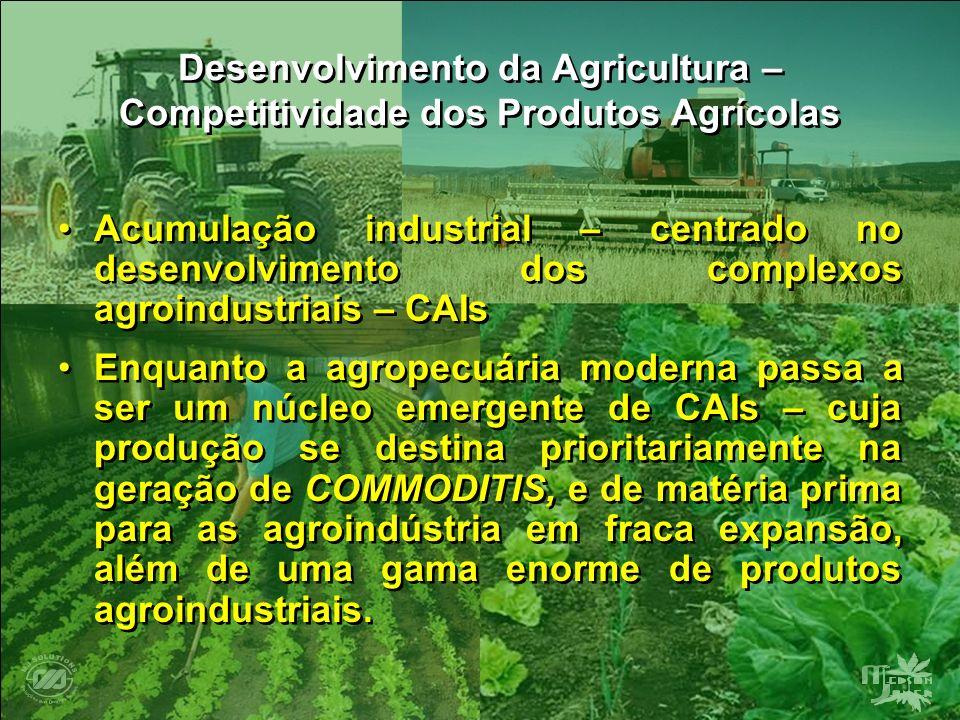 Desenvolvimento da Agricultura – Competitividade dos Produtos Agrícolas Acumulação industrial – centrado no desenvolvimento dos complexos agroindustri
