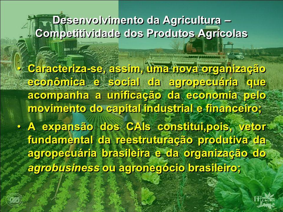 Desenvolvimento da Agricultura – Competitividade dos Produtos Agrícolas Caracteriza-se, assim, uma nova organização econômica e social da agropecuária