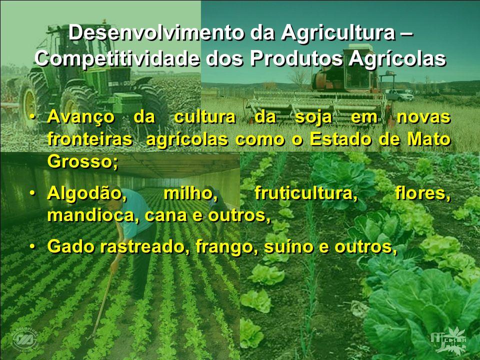 Desenvolvimento da Agricultura – Competitividade dos Produtos Agrícolas Avanço da cultura da soja em novas fronteiras agrícolas como o Estado de Mato
