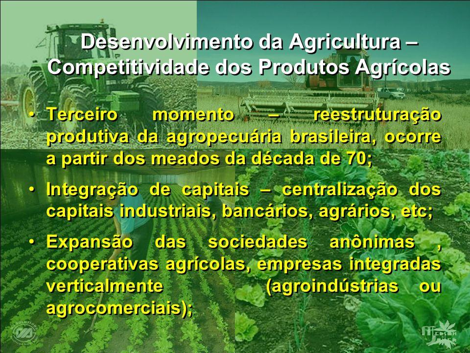 Desenvolvimento da Agricultura – Competitividade dos Produtos Agrícolas Terceiro momento – reestruturação produtiva da agropecuária brasileira, ocorre
