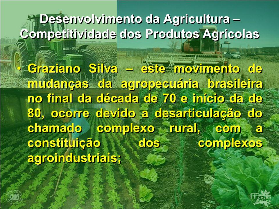 Desenvolvimento da Agricultura – Competitividade dos Produtos Agrícolas Graziano Silva – este movimento de mudanças da agropecuária brasileira no fina