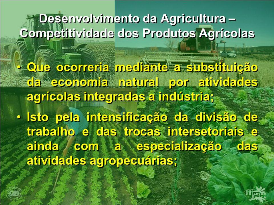 Desenvolvimento da Agricultura – Competitividade dos Produtos Agrícolas Que ocorreria mediante a substituição da economia natural por atividades agríc