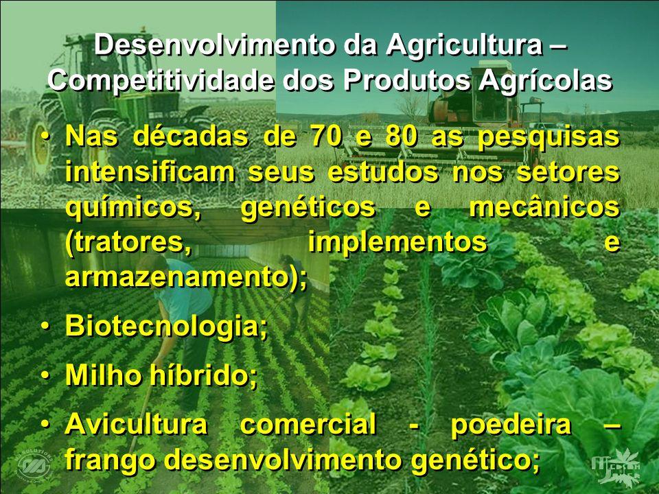 Desenvolvimento da Agricultura – Competitividade dos Produtos Agrícolas Nas décadas de 70 e 80 as pesquisas intensificam seus estudos nos setores quím