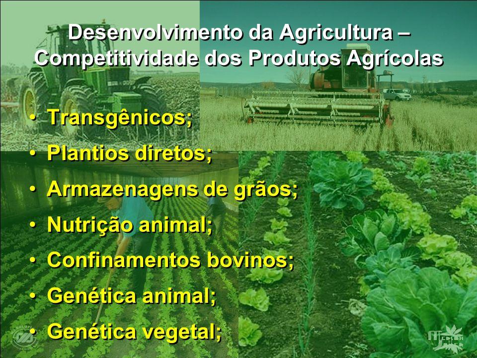 Desenvolvimento da Agricultura – Competitividade dos Produtos Agrícolas Transgênicos; Plantios diretos; Armazenagens de grãos; Nutrição animal; Confin
