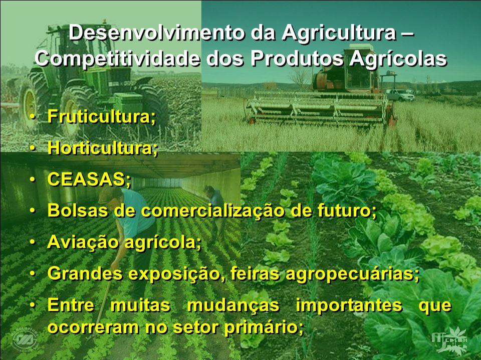 Desenvolvimento da Agricultura – Competitividade dos Produtos Agrícolas Fruticultura; Horticultura; CEASAS; Bolsas de comercialização de futuro; Aviaç