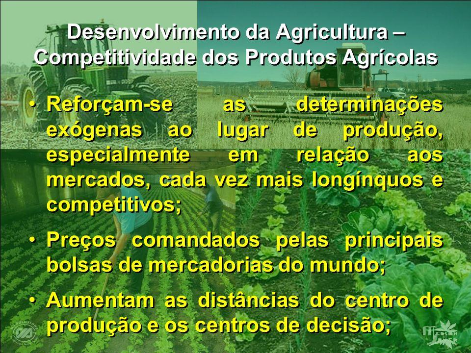 Desenvolvimento da Agricultura – Competitividade dos Produtos Agrícolas Reforçam-se as determinações exógenas ao lugar de produção, especialmente em r