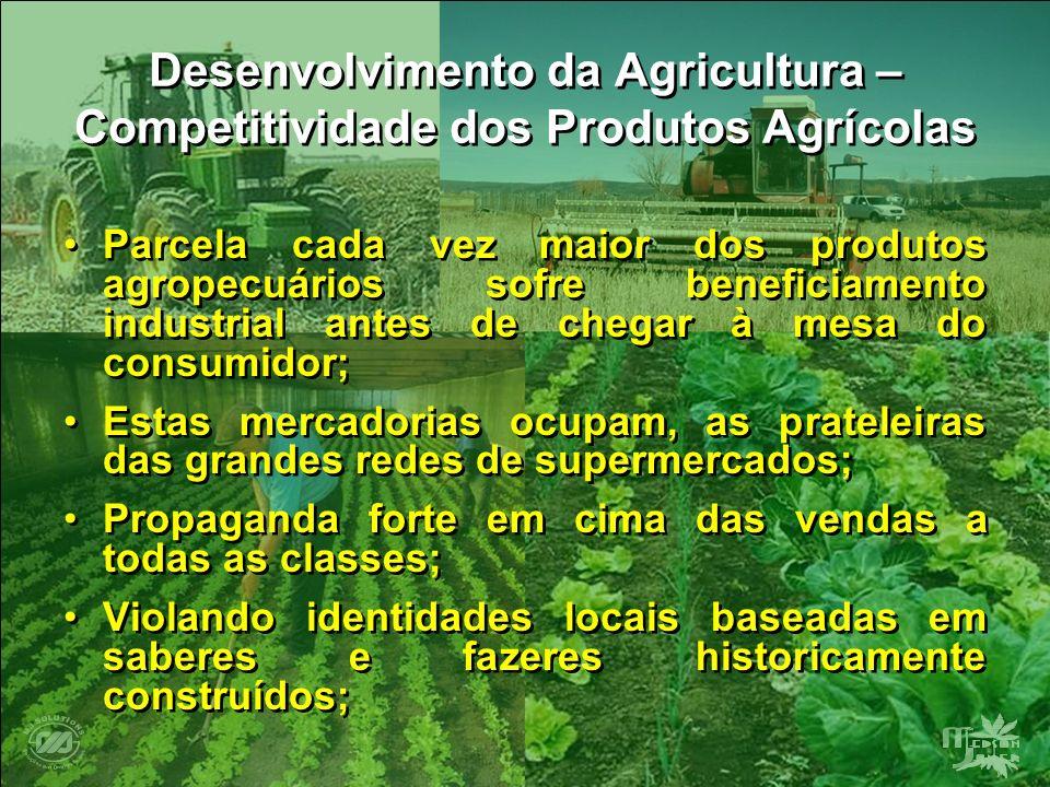 Desenvolvimento da Agricultura – Competitividade dos Produtos Agrícolas Parcela cada vez maior dos produtos agropecuários sofre beneficiamento industr