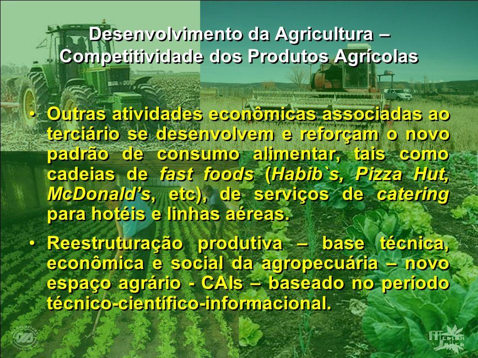 Desenvolvimento da Agricultura – Competitividade dos Produtos Agrícolas Outras atividades econômicas associadas ao terciário se desenvolvem e reforçam