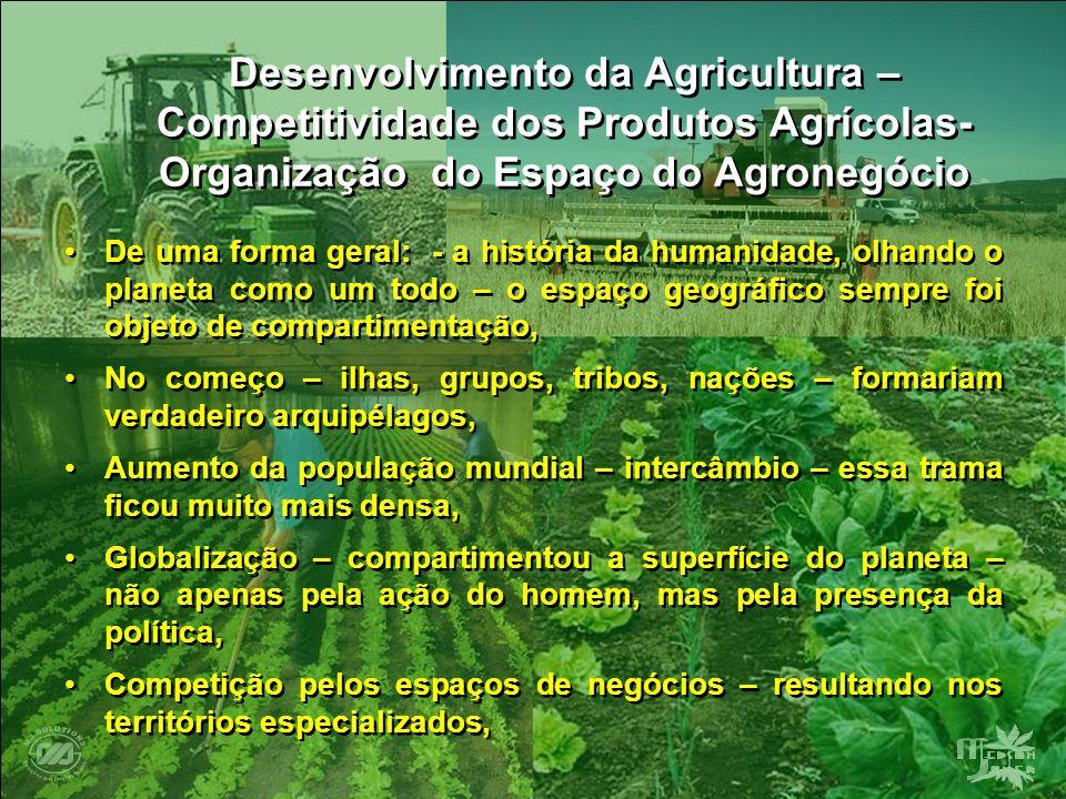 Desenvolvimento da Agricultura – Competitividade dos Produtos Agrícolas- Organização do Espaço do Agronegócio De uma forma geral: - a história da huma