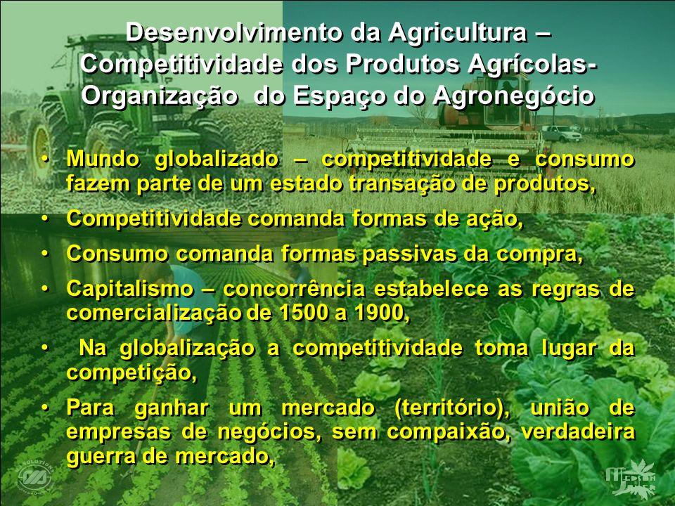 Desenvolvimento da Agricultura – Competitividade dos Produtos Agrícolas- Organização do Espaço do Agronegócio Mundo globalizado – competitividade e co