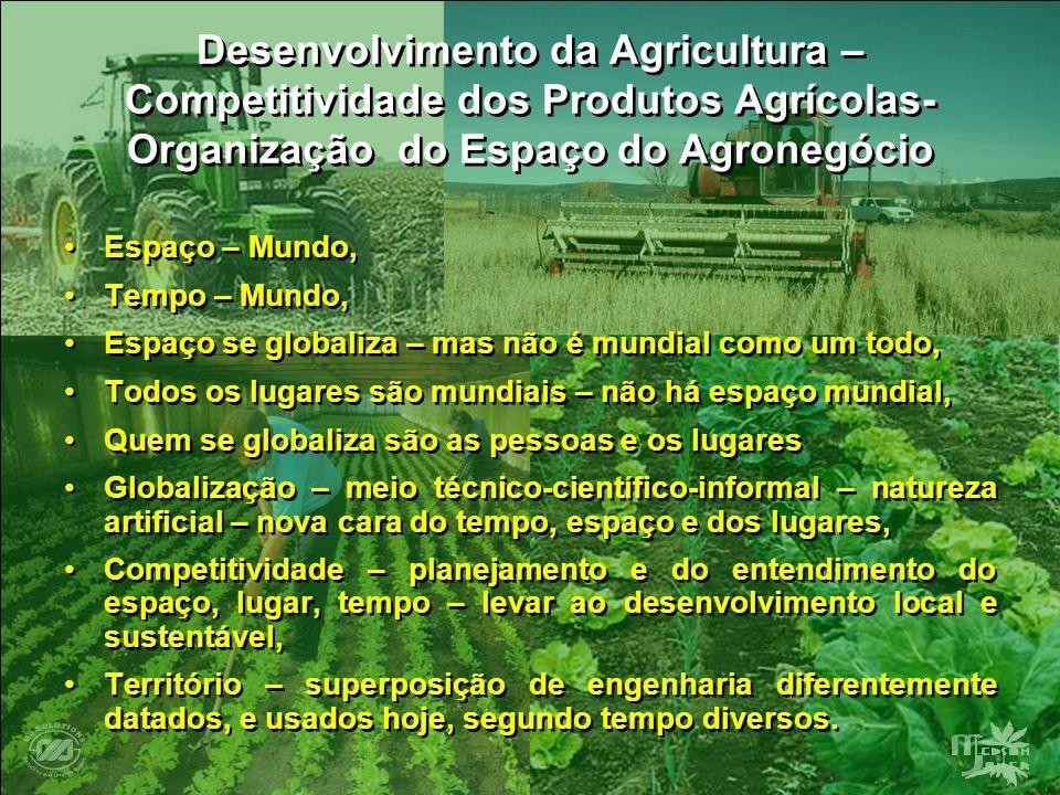 Desenvolvimento da Agricultura – Competitividade dos Produtos Agrícolas- Organização do Espaço do Agronegócio Espaço – Mundo, Tempo – Mundo, Espaço se