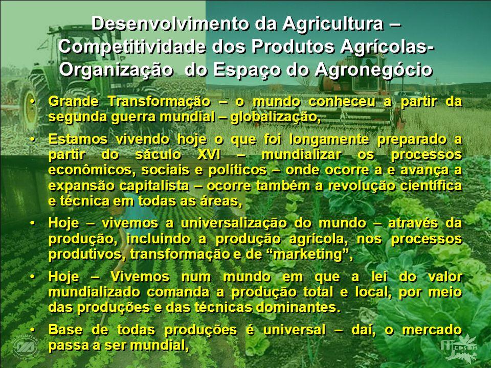 Desenvolvimento da Agricultura – Competitividade dos Produtos Agrícolas- Organização do Espaço do Agronegócio Grande Transformação – o mundo conheceu