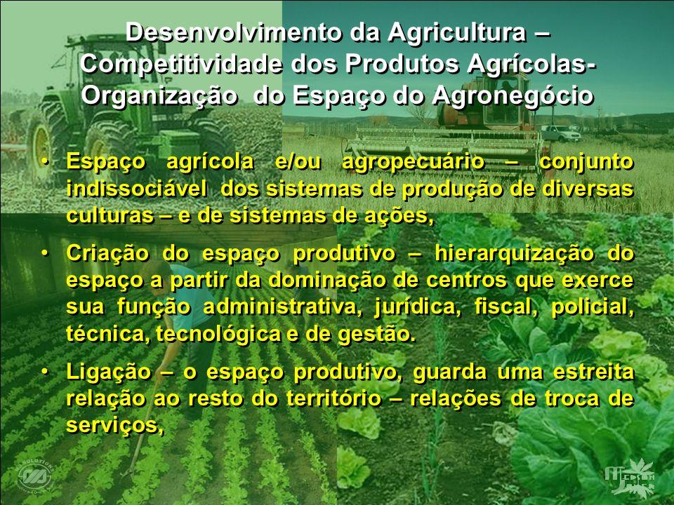 Desenvolvimento da Agricultura – Competitividade dos Produtos Agrícolas- Organização do Espaço do Agronegócio Espaço agrícola e/ou agropecuário – conj