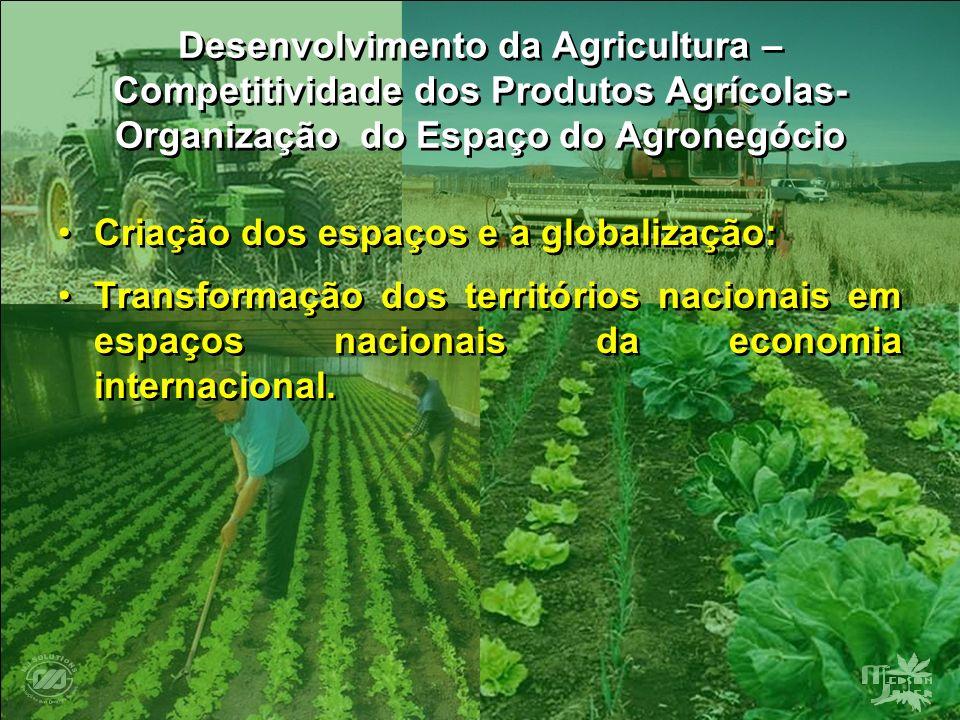 Desenvolvimento da Agricultura – Competitividade dos Produtos Agrícolas- Organização do Espaço do Agronegócio Criação dos espaços e a globalização: Tr