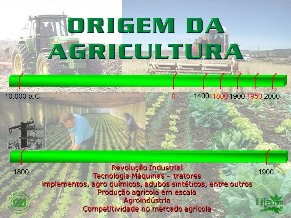 18001900 20001800 0 19001950 1400 10.000 a.C. Revolução Industrial Tecnologia Máquinas – tratores implementos, agro químicos, adubos sintéticos, entre