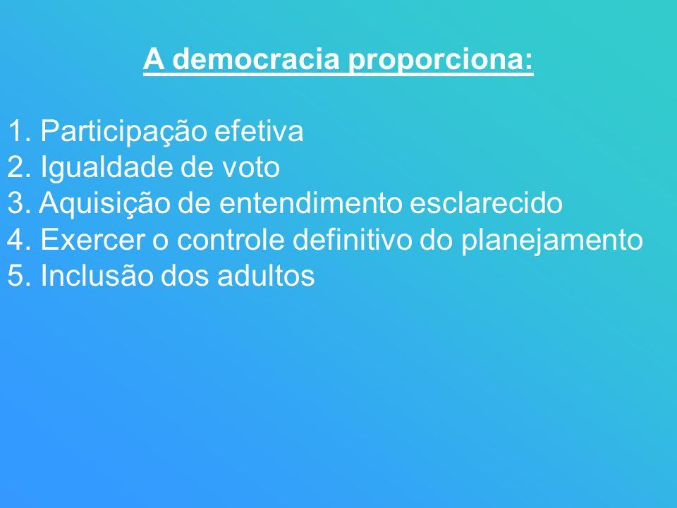 A democracia proporciona: 1. Participação efetiva 2. Igualdade de voto 3. Aquisição de entendimento esclarecido 4. Exercer o controle definitivo do pl