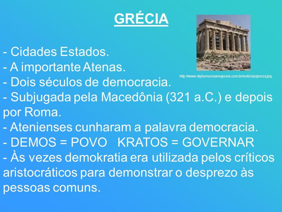 GRÉCIA - Cidades Estados. - A importante Atenas. - Dois séculos de democracia. - Subjugada pela Macedônia (321 a.C.) e depois por Roma. - Atenienses c
