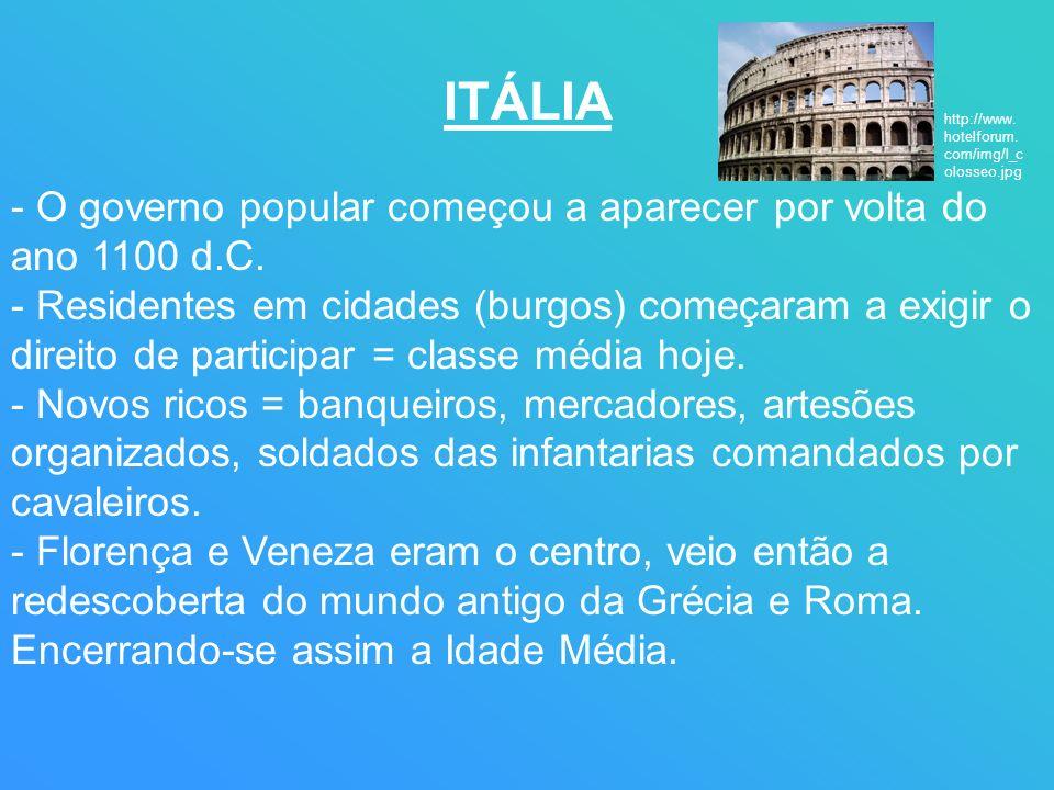 ITÁLIA - O governo popular começou a aparecer por volta do ano 1100 d.C. - Residentes em cidades (burgos) começaram a exigir o direito de participar =