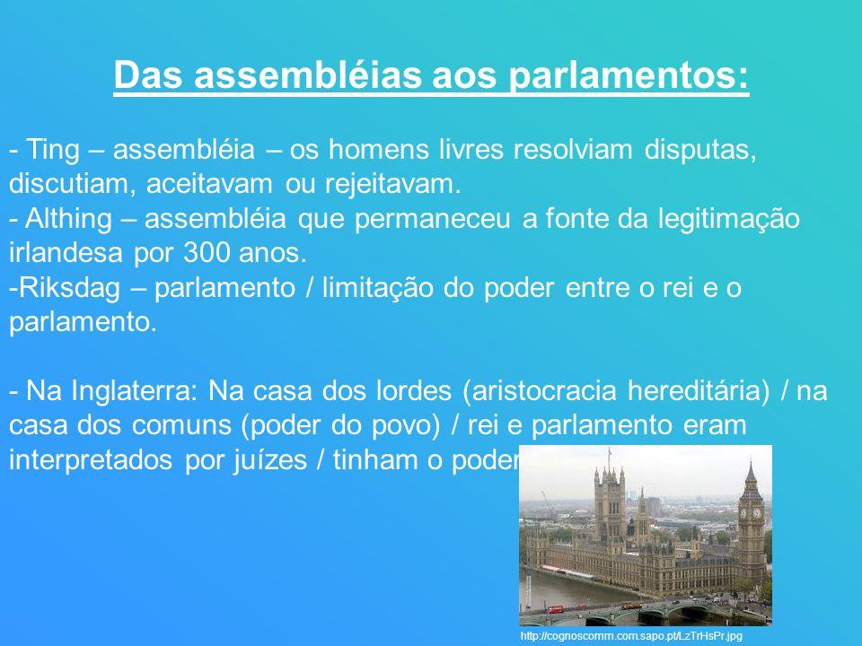 Das assembléias aos parlamentos: - Ting – assembléia – os homens livres resolviam disputas, discutiam, aceitavam ou rejeitavam. - Althing – assembléia