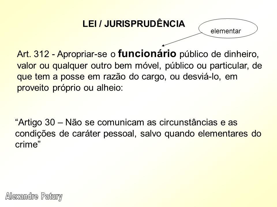 LEI / JURISPRUDÊNCIA Artigo 30 – Não se comunicam as circunstâncias e as condições de caráter pessoal, salvo quando elementares do crime Art. 312 - Ap
