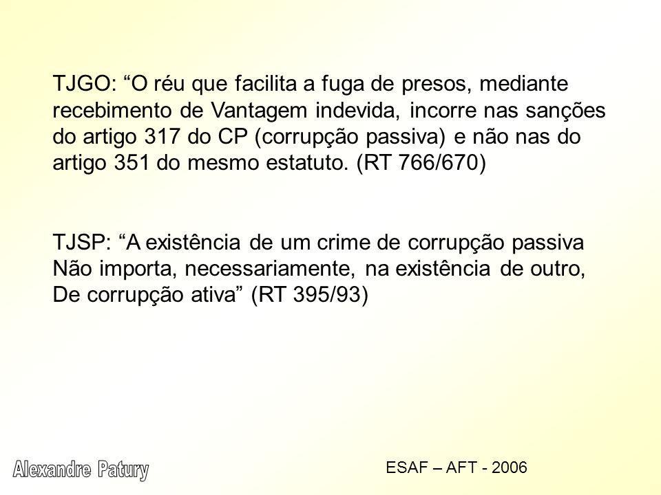 TJGO: O réu que facilita a fuga de presos, mediante recebimento de Vantagem indevida, incorre nas sanções do artigo 317 do CP (corrupção passiva) e não nas do artigo 351 do mesmo estatuto.