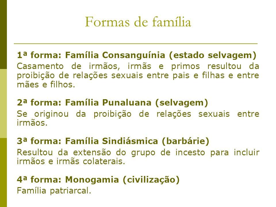 Formas de família 1ª forma: Família Consanguínia (estado selvagem) Casamento de irmãos, irmãs e primos resultou da proibição de relações sexuais entre