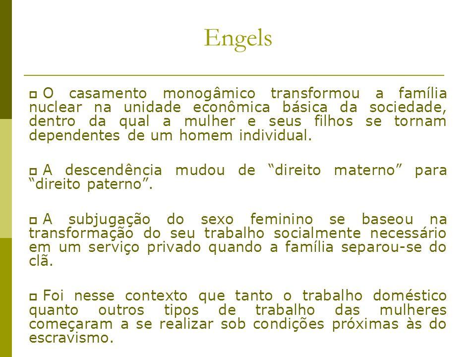 Engels O casamento monogâmico transformou a família nuclear na unidade econômica básica da sociedade, dentro da qual a mulher e seus filhos se tornam