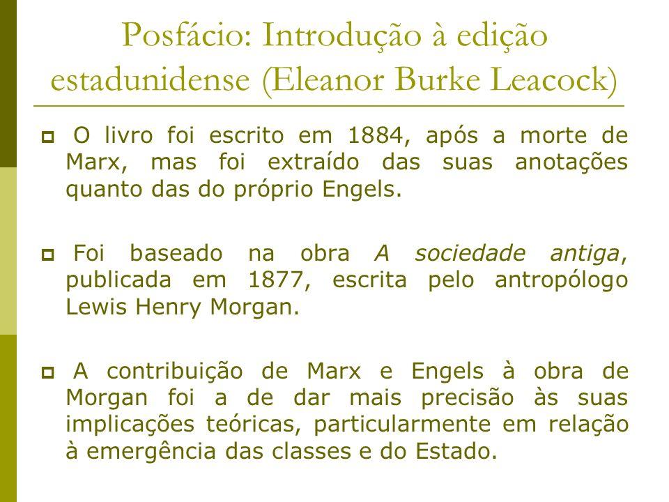 Posfácio: Introdução à edição estadunidense (Eleanor Burke Leacock) O livro foi escrito em 1884, após a morte de Marx, mas foi extraído das suas anota