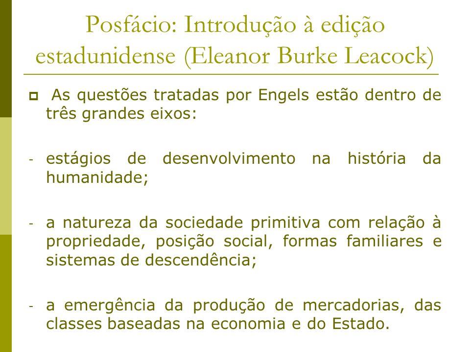 Posfácio: Introdução à edição estadunidense (Eleanor Burke Leacock) As questões tratadas por Engels estão dentro de três grandes eixos: - estágios de