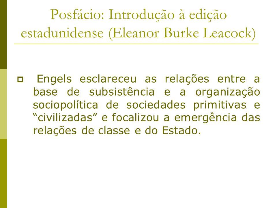 Posfácio: Introdução à edição estadunidense (Eleanor Burke Leacock) Engels esclareceu as relações entre a base de subsistência e a organização sociopo