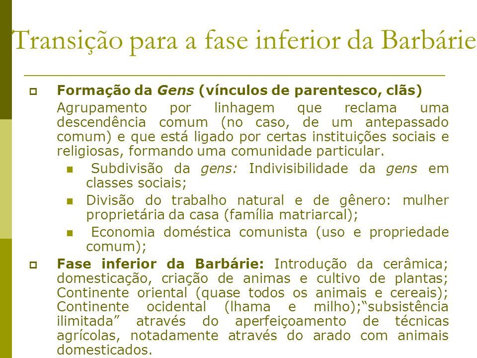 Transição para a fase inferior da Barbárie Formação da Gens (vínculos de parentesco, clãs) Agrupamento por linhagem que reclama uma descendência comum