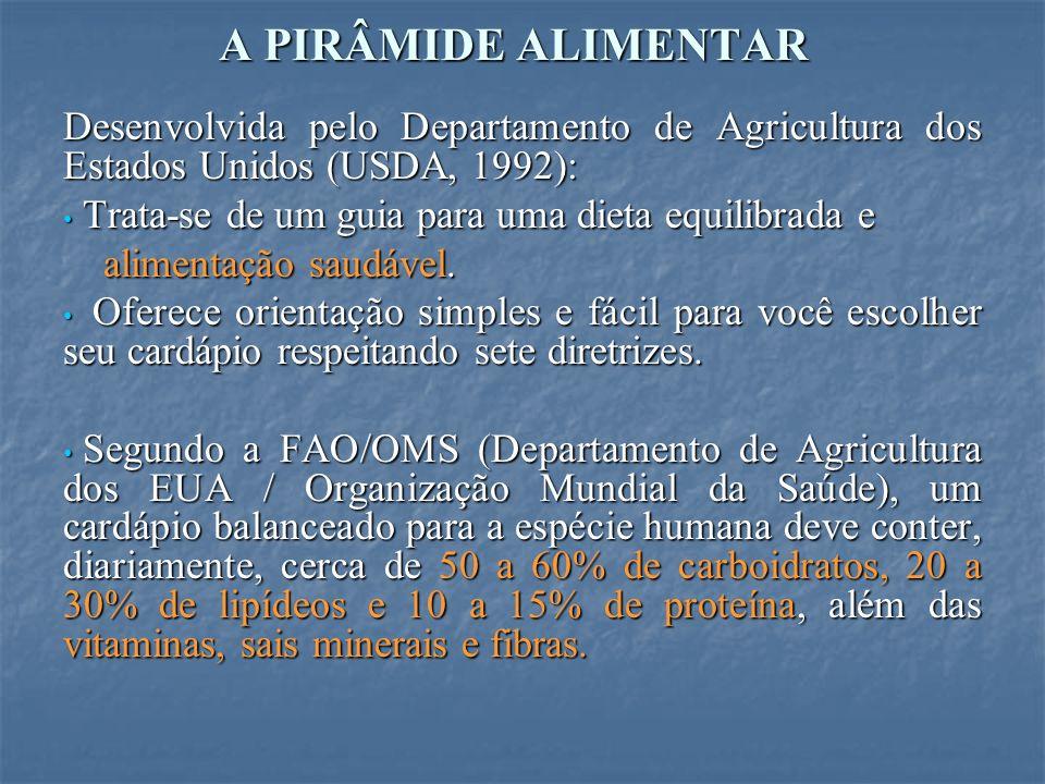 A PIRÂMIDE ALIMENTAR Desenvolvida pelo Departamento de Agricultura dos Estados Unidos (USDA, 1992): Trata-se de um guia para uma dieta equilibrada e Trata-se de um guia para uma dieta equilibrada e alimentação saudável.