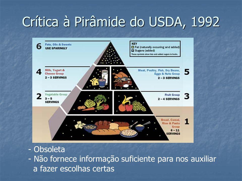 Surge nova pirâmide em 2004: Pirâmide de Harvard Willett, 2004 Surge nova pirâmide em 2004: Pirâmide de Harvard Willett, 2004 Limitar consumo de açúcar, gorduras trans, grãos refinados, consumir bastante frutas e verduras e praticar exercícios regularmente, mantendo o peso.