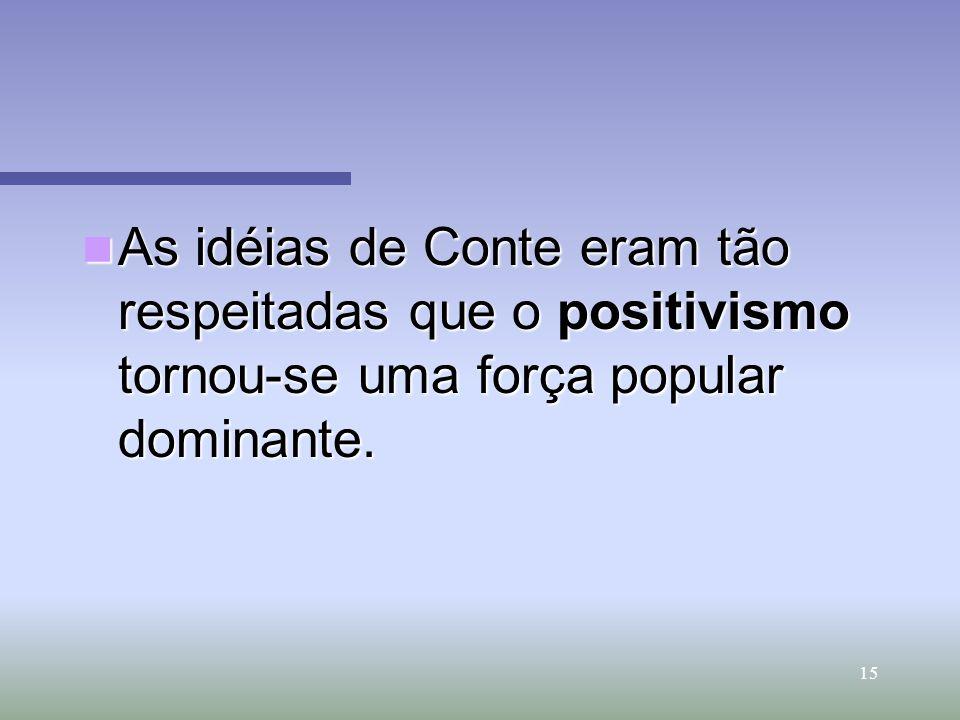 15 As idéias de Conte eram tão respeitadas que o positivismo tornou-se uma força popular dominante. As idéias de Conte eram tão respeitadas que o posi