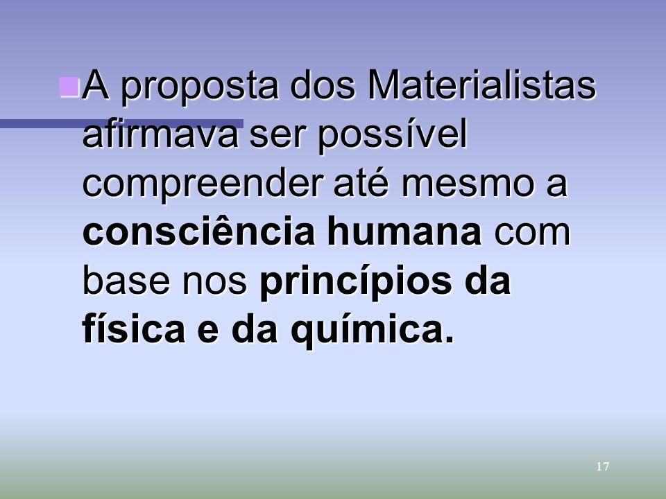 17 A proposta dos Materialistas afirmava ser possível compreender até mesmo a consciência humana com base nos princípios da física e da química. A pro