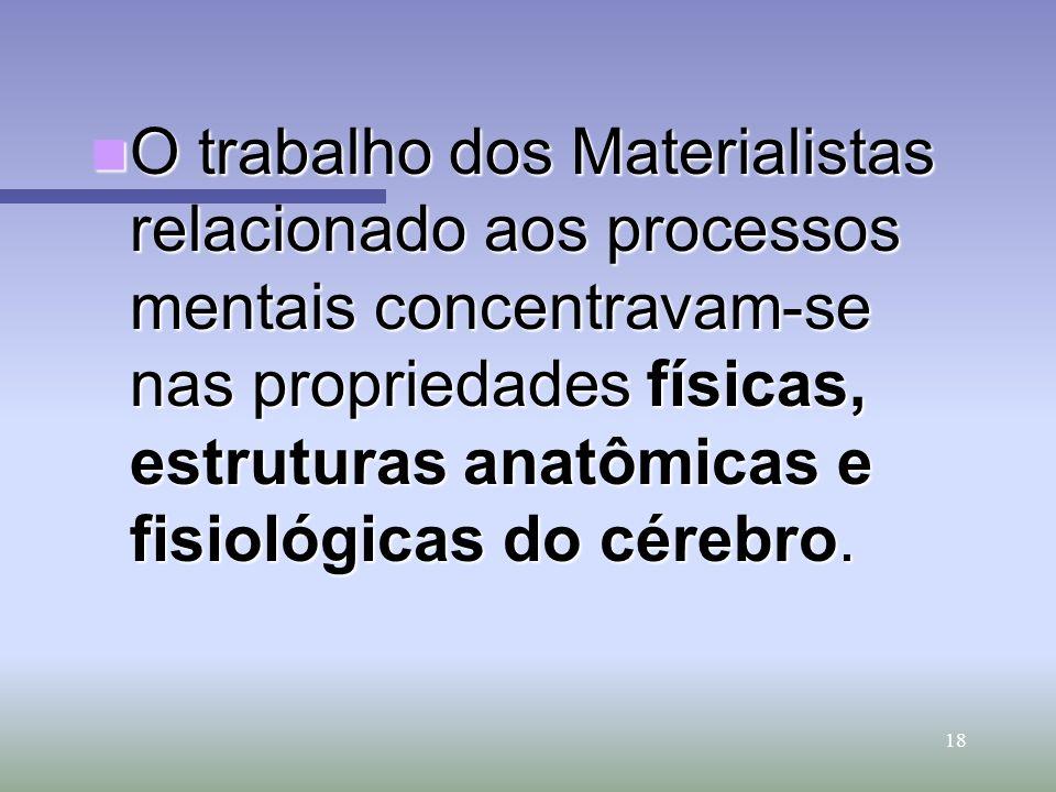 18 O trabalho dos Materialistas relacionado aos processos mentais concentravam-se nas propriedades físicas, estruturas anatômicas e fisiológicas do cé