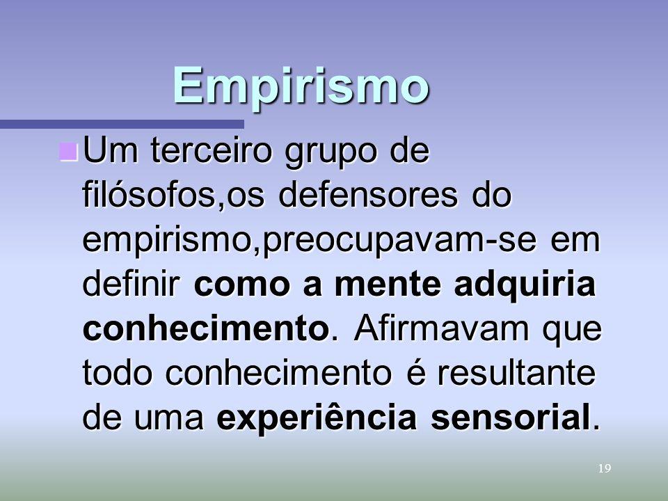 19 Empirismo Um terceiro grupo de filósofos,os defensores do empirismo,preocupavam-se em definir como a mente adquiria conhecimento. Afirmavam que tod