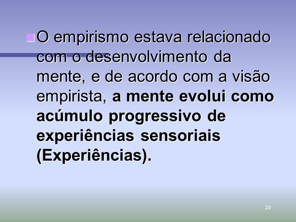20 O empirismo estava relacionado com o desenvolvimento da mente, e de acordo com a visão empirista, a mente evolui como acúmulo progressivo de experi