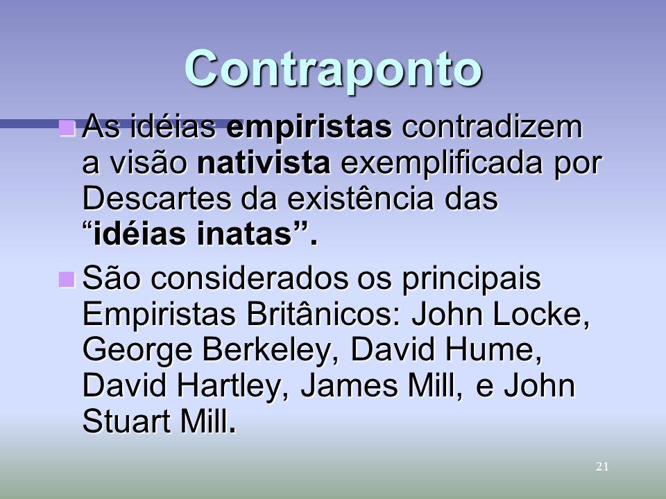21 Contraponto As idéias empiristas contradizem a visão nativista exemplificada por Descartes da existência dasidéias inatas. As idéias empiristas con