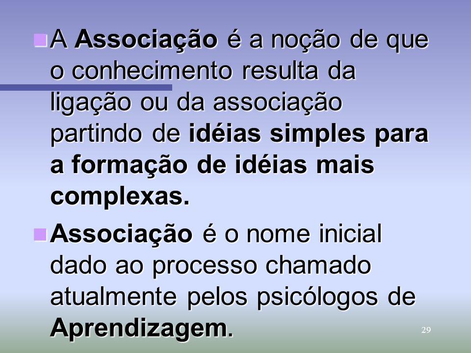 29 A Associação é a noção de que o conhecimento resulta da ligação ou da associação partindo de idéias simples para a formação de idéias mais complexa
