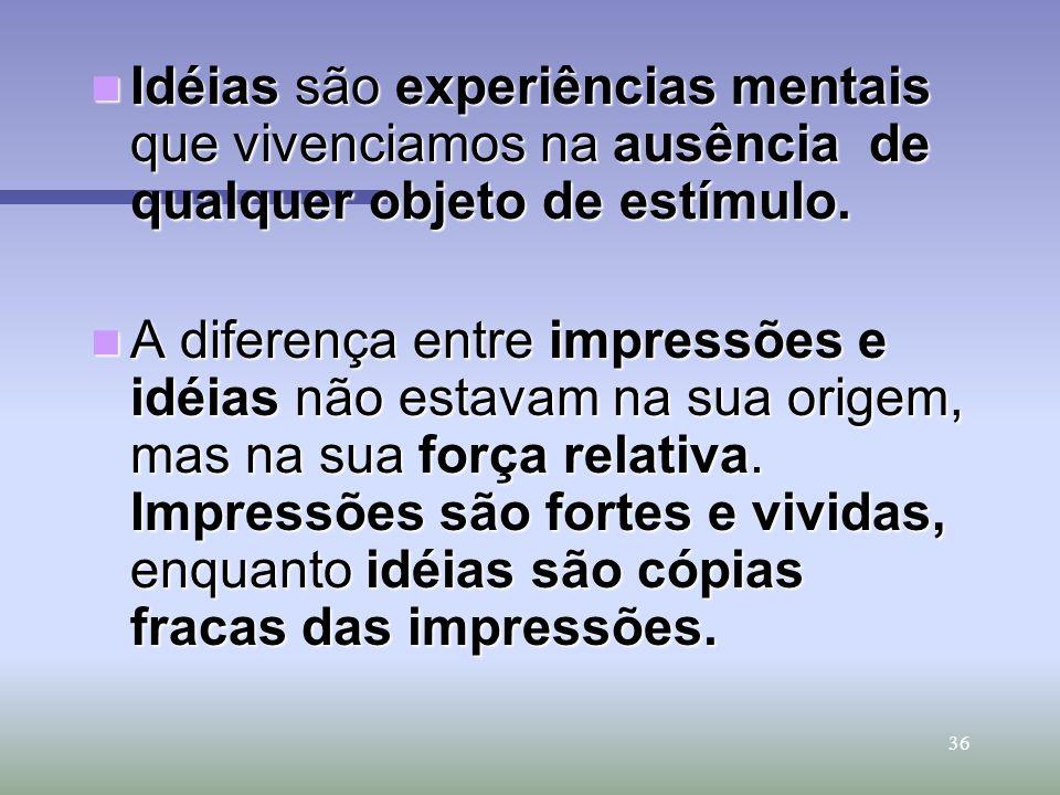 36 Idéias são experiências mentais que vivenciamos na ausência de qualquer objeto de estímulo. Idéias são experiências mentais que vivenciamos na ausê