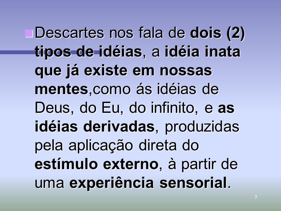 7 Descartes nos fala de dois (2) tipos de idéias, a idéia inata que já existe em nossas mentes,como ás idéias de Deus, do Eu, do infinito, e as idéias